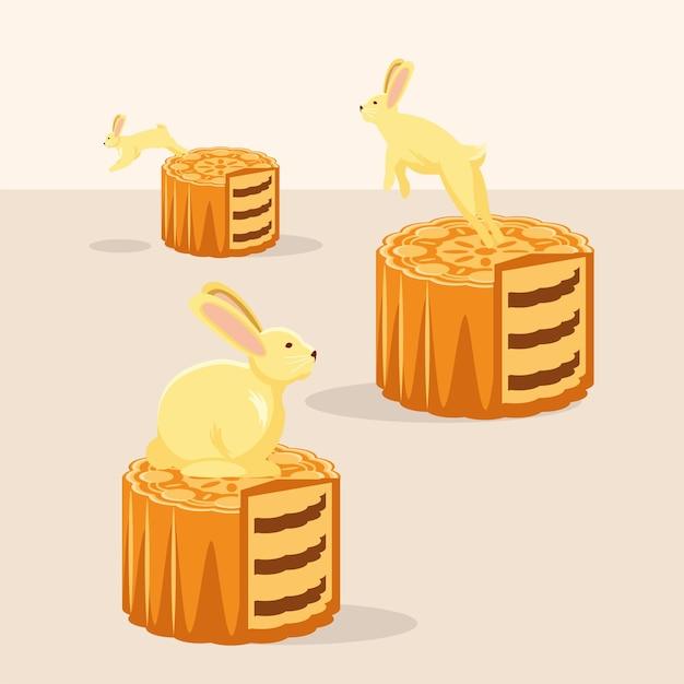Konijnen en mooncake-dessert