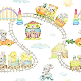 Konijnen en paasdecoratie in cartoonstijlontwerp
