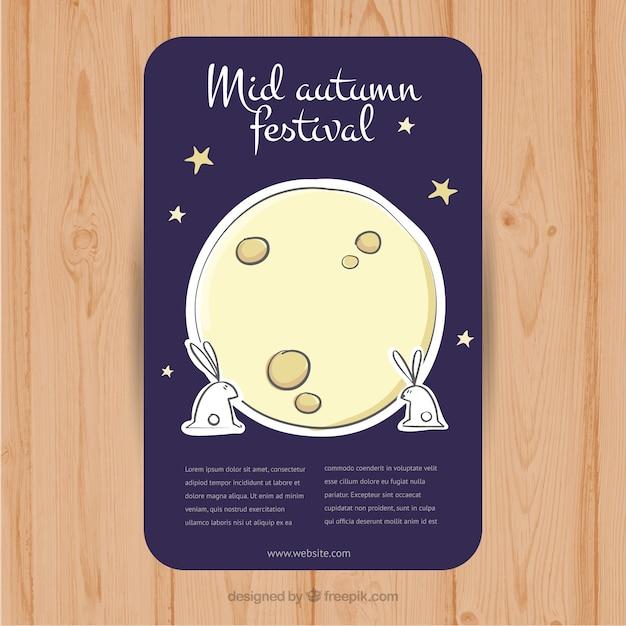 Konijnen naast de maan voor de mid-herfstfestival