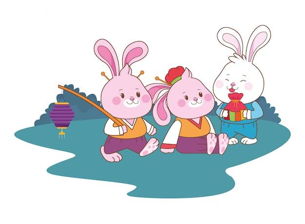 Konijnen vieren medio herfst festival tekenfilms