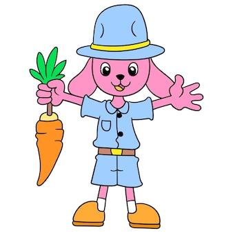 Konijnenboer oogst gelukkig wortelen in de tuin, vectorillustratiekunst. doodle pictogram afbeelding kawaii.