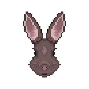 Konijnenhoofd in pixelart-stijl.