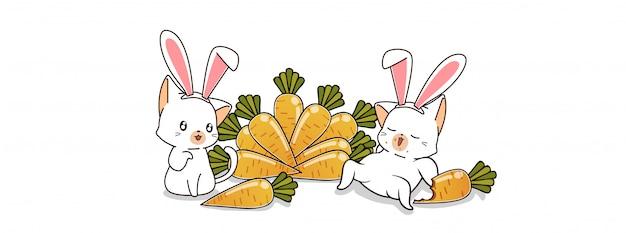 Konijnenkatten en wortelen in de lentedag