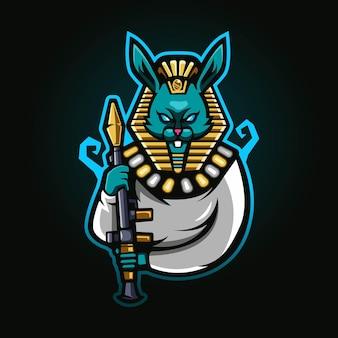 Konijnenkoningfarao met rpg esport mascot-logo