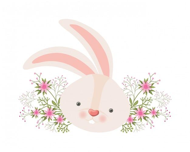Konijnhoofd met bloemen geïsoleerd pictogram