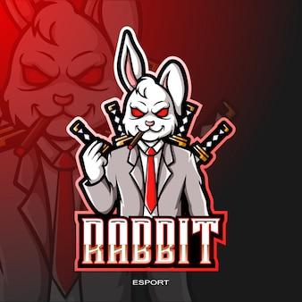 Konijnmascotte voor gaming-logo.