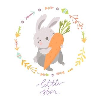 Konijntje met wortel en kleine ster