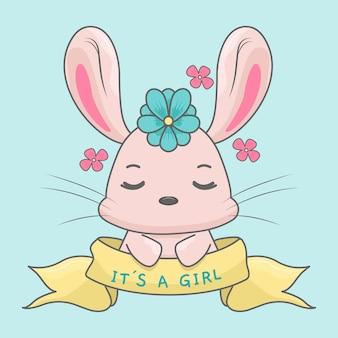 Konijntje voor babyshower voor meisjes