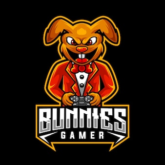 Konijntjes gamer, mascotte logo