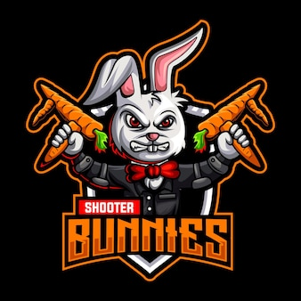 Konijntjes pistool wortel mascotte logo sjabloon