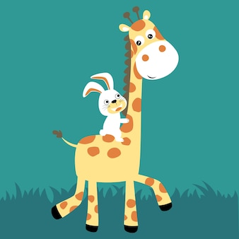 Konijntjesrit op de vector van het girafbeeldverhaal