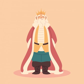 Koning, dikke man met kroon en koninklijke gewaden, vorst