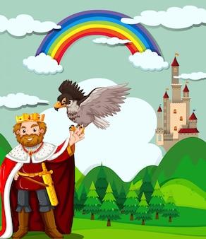 Koning en adelaar in het veld Gratis Vector