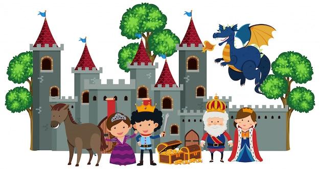 Koning en koningin in het kasteel