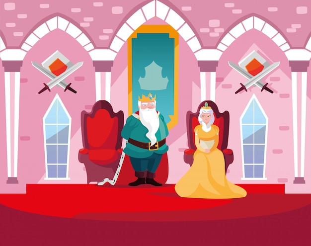 Koning en koningin in het kasteelsprookje