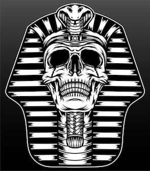 Koning farao schedel geïsoleerd op zwart