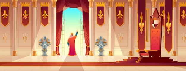 Koning groet menigte van balkon cartoon