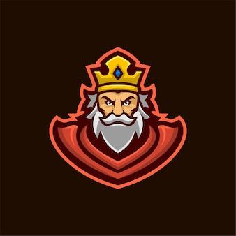 Koning hoofd cartoon logo sjabloon illustratie. esport logo gaming premium vector