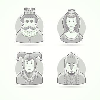 Koning in kroon, koninklijk persoon, koningin, prinses, hofjecter, ridderstrijder. set van karakter-, avatar- en persoonillustraties. zwart-wit geschetste stijl.