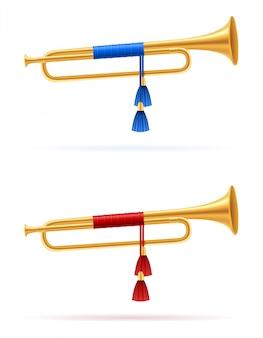 Koning koninklijke gouden hoorn trompet.