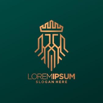 Koning kroon lijn logo kunst