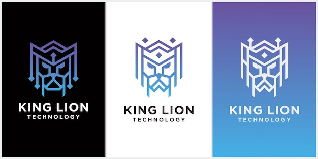 Koning leeuw hoofd logo sjabloonontwerp
