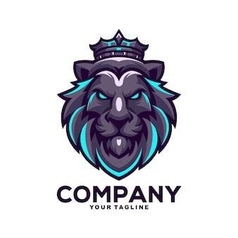 Koning leeuw mascotte logo ontwerp illustratie