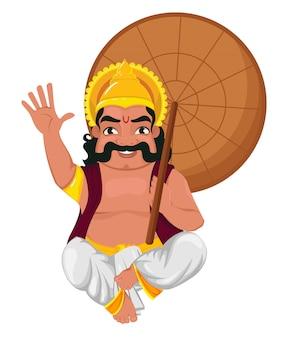 Koning mahabali zit en houdt paraplu vast
