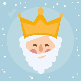 Koning melchior. gezicht op een sterrenhemel
