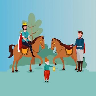Koning met prins in scène sprookje