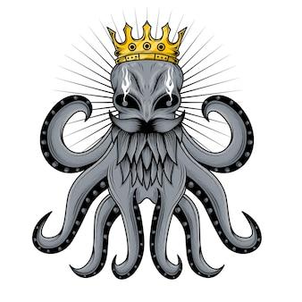 Koning octopus tentakel illustratie