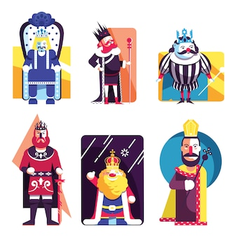 Koning pictogrammen collectie gekleurde cartoon sjabloon vector