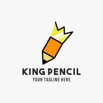 Koning potlood vlakke stijl ontwerp symbool logo illustratie sjabloon