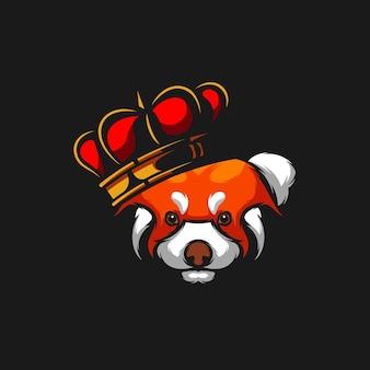 Koning rode panda mascotte