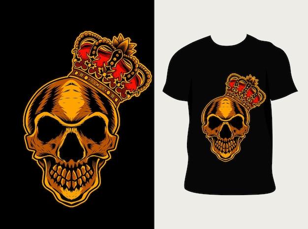 Koning schedel illustratie met t-shirtontwerp