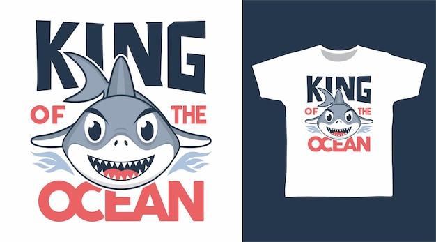 Koning van haai cartoon t-shirt ontwerp