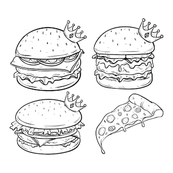 Koning van hamburger met kroon en gesmolten kaas met de hand getekende stijl