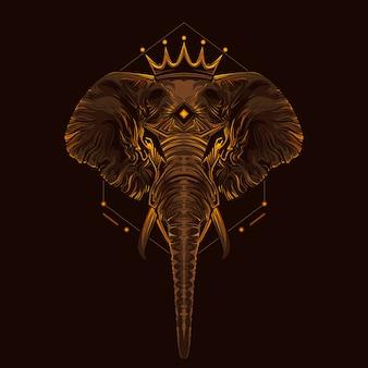 Koning van olifanten kunst illustratie