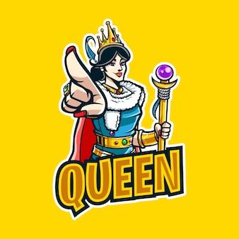 Koningin cartoon mascotte logo voor esport en sport