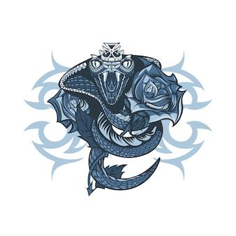Koningin cobra verpakt roos.
