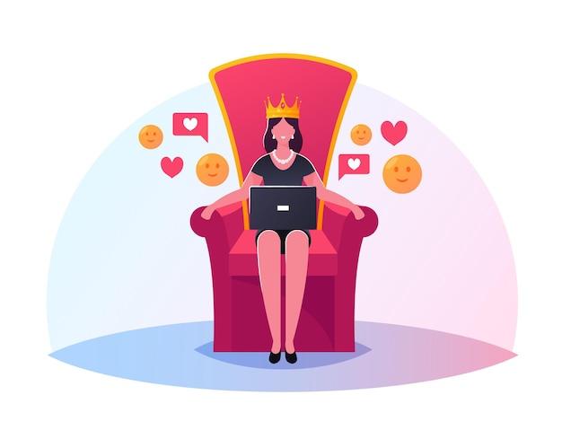 Koningin karakter met laptop in handen zittend op de troon met kroon op hoofd