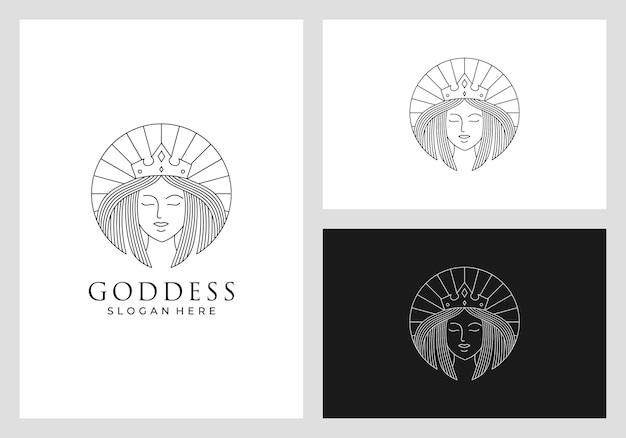 Koningin logo ontwerp in lijn kunststijl