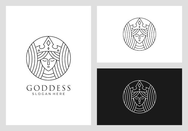Koningin logo ontwerp in mono lijnstijl