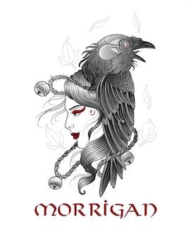 Koningin raaf morrigan in ritueel masker