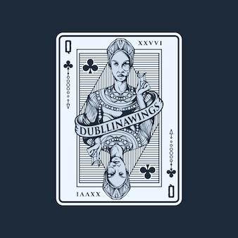 Koningin speelkaart illustratie sjabloon