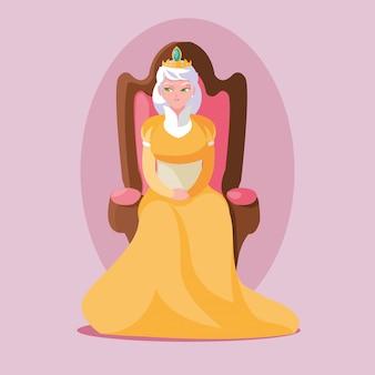 Koningin sprookjesachtige magie zittend in stoel avatar karakter