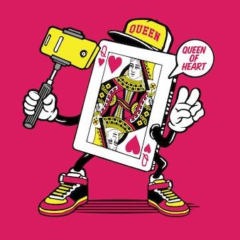 Koningin van hart kaart selfie karakter