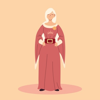 Koningin, vrouw met middeleeuwse slijtage