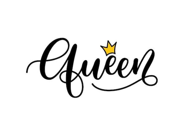 Koningin woord. hand getrokken belettering. kalligrafie inscriptie ontwerp