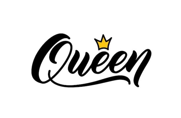 Koningin woord in de hand belettering stijl. vector kalligrafische inscriptie. trendy handgeschreven tekstontwerp om op kleding af te drukken. koningin woord met kroon.